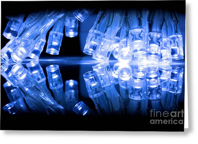 Twinkle Greeting Cards - Cold blue LED lights closeup Greeting Card by Simon Bratt Photography LRPS
