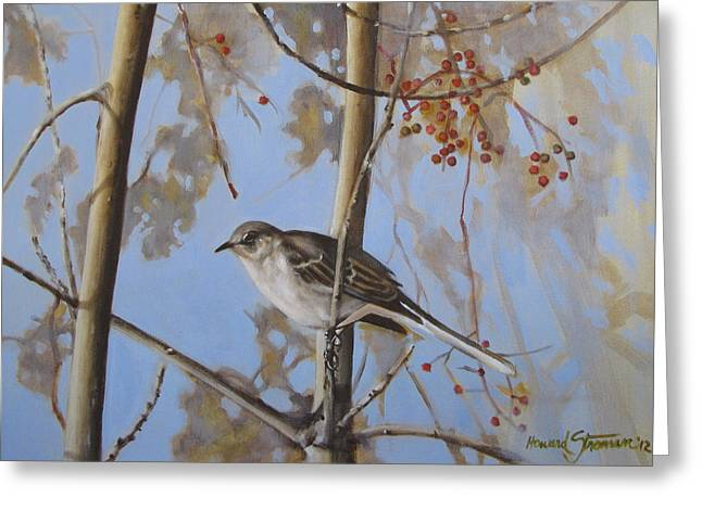 Cold Day Greeting Card by Howard Stroman