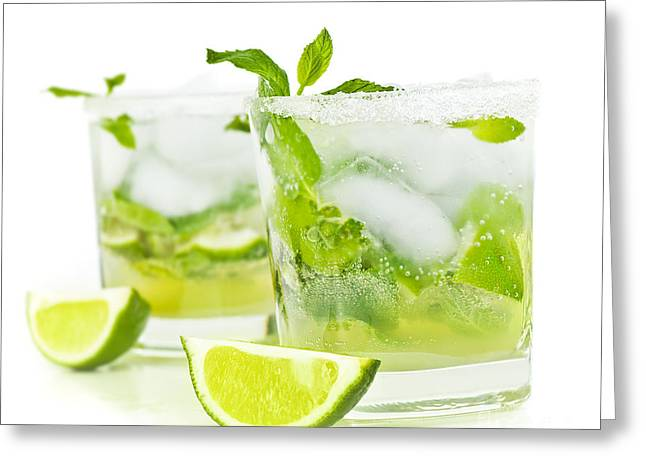Spearmint Greeting Cards - Cold mojito drink Greeting Card by Anna Omelchenko
