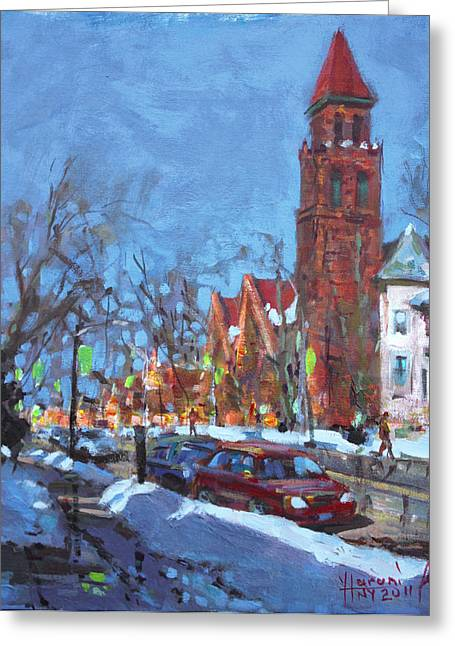 Aves Greeting Cards - Cold Morning in Elmwood Ave  Greeting Card by Ylli Haruni