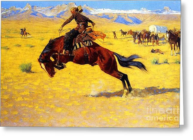 Old West Prints Greeting Cards - Cold Morning on the Range Greeting Card by Pg Reproductions