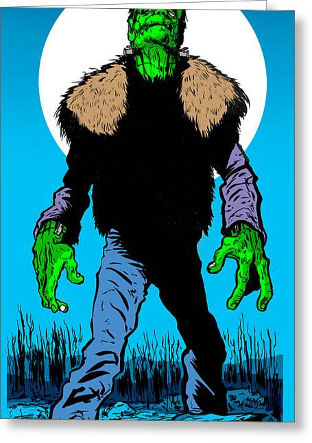 Wolfman Greeting Cards - Cold Night Air Greeting Card by Ben Von Strawn