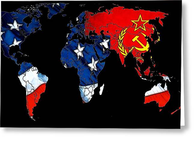 World Digital Map Greeting Cards - Cold War Map Greeting Card by Stefan Kuhn