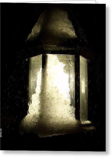 Night Lamp Digital Art Greeting Cards - Cold Winter Night Greeting Card by Ed Smith