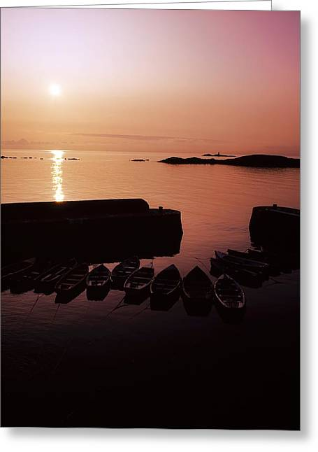 Boats In Harbor Greeting Cards - Coliemore Harbour, Co Dublin, Ireland Greeting Card by The Irish Image Collection