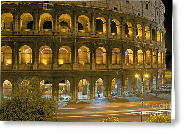 Coliseum Greeting Cards - Coliseum  illuminated at night. Rome Greeting Card by Bernard Jaubert