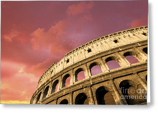 Historically Greeting Cards - Coliseum. Rome. Lazio. Italy. Europe Greeting Card by Bernard Jaubert