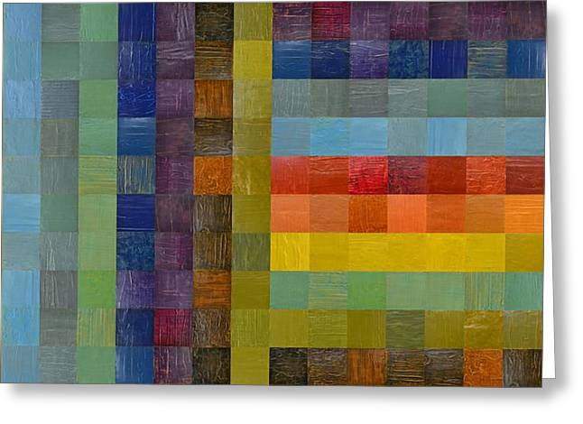 Geometric Style Greeting Cards - Collage Color Study Sketch Greeting Card by Michelle Calkins