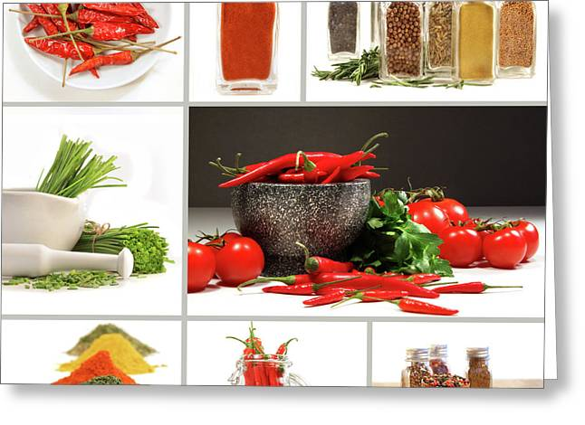 Spice Greeting Cards - Collage of different colorful spices for seasoning Greeting Card by Sandra Cunningham