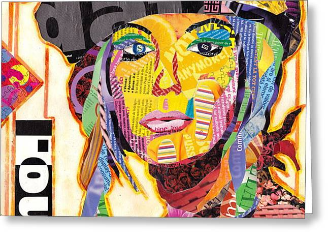 Collage Portrait Greeting Card by Oprisor Dan