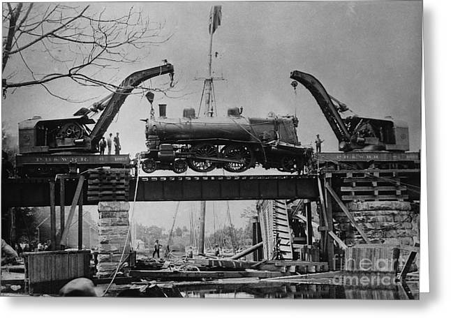 Work Crew Greeting Cards - Collapsed Bridge and Train Recovery Greeting Card by M E Warren and Photo Researchers