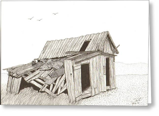 Barn Pen And Ink Drawings Greeting Cards - Collapsed Greeting Card by Pat Price