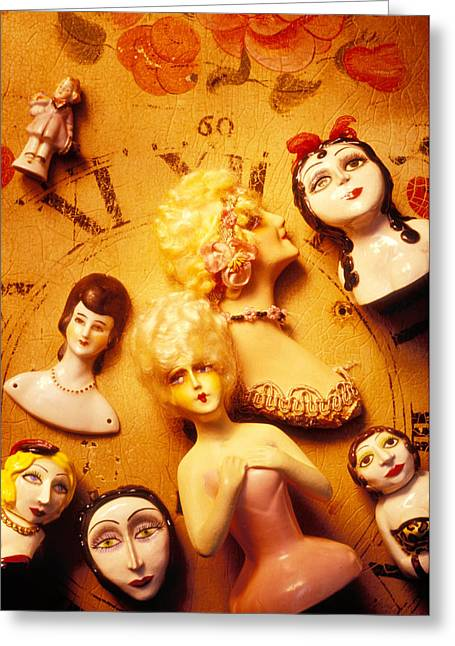 Clock Face Greeting Cards - Collectable dolls Greeting Card by Garry Gay