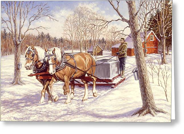 Sap Greeting Cards - Collecting The Sap Greeting Card by Richard De Wolfe