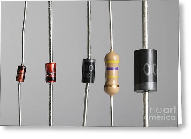 Electric Current Greeting Cards - Collection Of Electronic Components Greeting Card by Photo Researchers