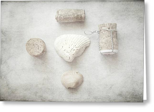 Wine Cork Collection Greeting Cards - Collections Seashells and Wine Corks Greeting Card by Toni Hopper