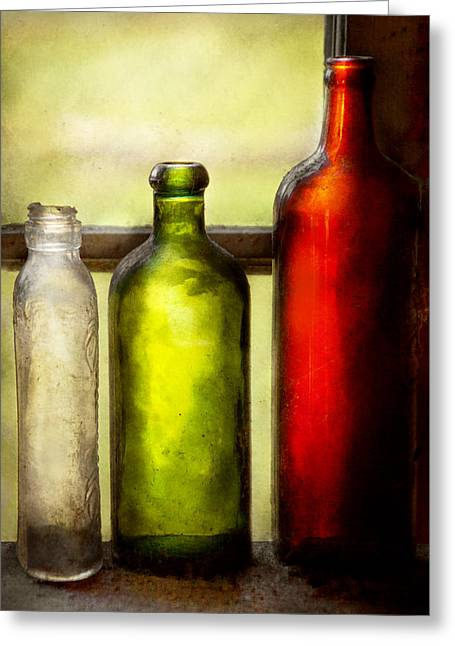Wine Scene Greeting Cards - Collector - Bottles - Still life of three bottles  Greeting Card by Mike Savad