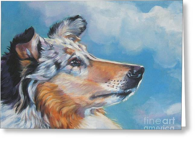 Collie Paintings Greeting Cards - Collie blue merle portrait Greeting Card by Lee Ann Shepard