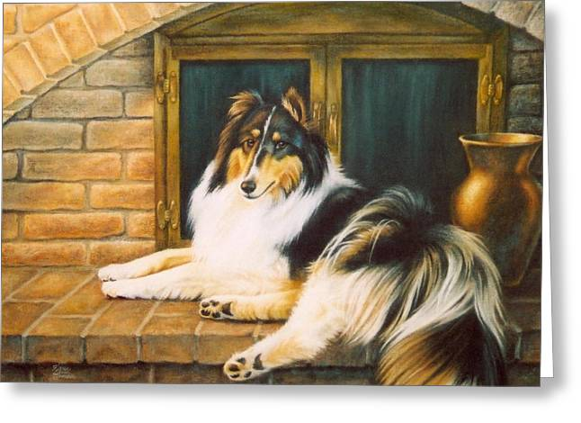 Puppies Pastels Greeting Cards - Collie on the Hearth Greeting Card by Karen Coombes