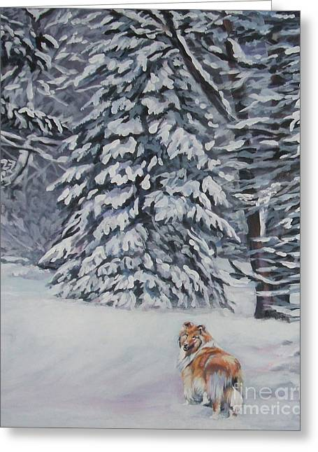 Collie Paintings Greeting Cards - Collie sable Christmas tree Greeting Card by L A Shepard