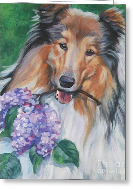 Collie Paintings Greeting Cards - Collie with lilacs Greeting Card by Lee Ann Shepard