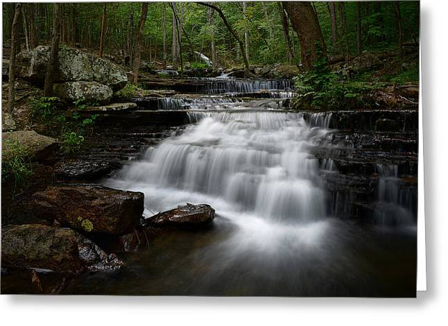 Heber Springs Greeting Cards - Collins Creek Falls Greeting Card by Renee Hardison