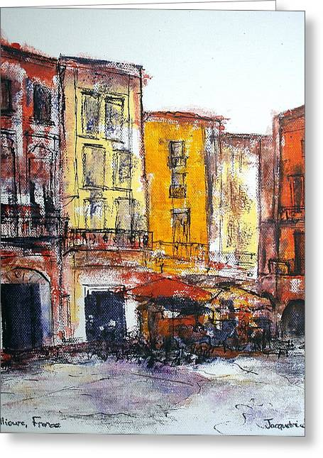 Languedoc Paintings Greeting Cards - Collioure - la Place Greeting Card by Jackie Sherwood