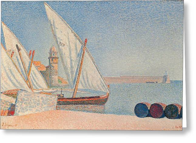Pointillist Greeting Cards - Collioure Les Balancelles Greeting Card by Paul Signac