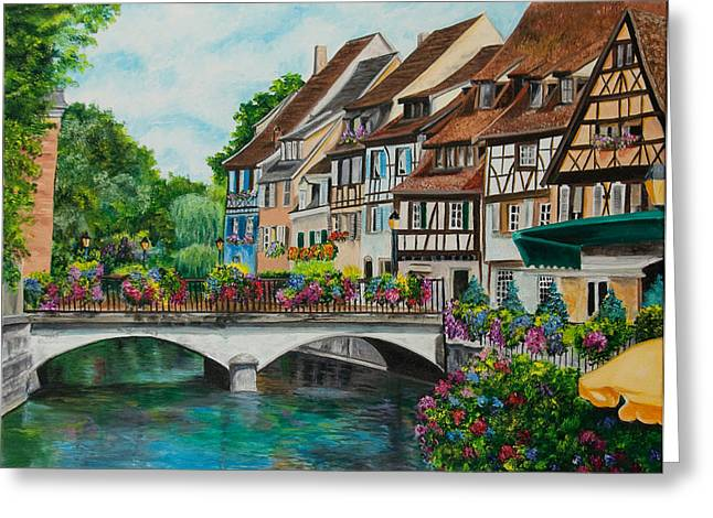 Village In France Greeting Cards - Colmar In Full Bloom Greeting Card by Charlotte Blanchard