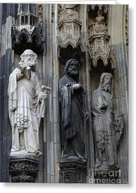 Saint Christopher Photographs Greeting Cards - Cologne Cathedral Statues Greeting Card by Bob Christopher