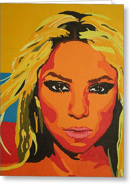Shakira Paintings Greeting Cards - Colombiana Greeting Card by Adrienne S