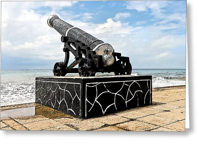 Antique Straight Pattern Greeting Cards - Colombo Cannons on Seashore Greeting Card by Kantilal Patel