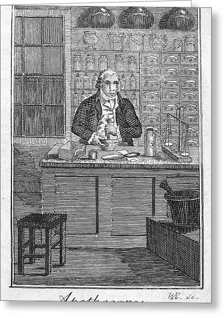 Colonial Man Greeting Cards - Colonial Apothecary Greeting Card by Granger