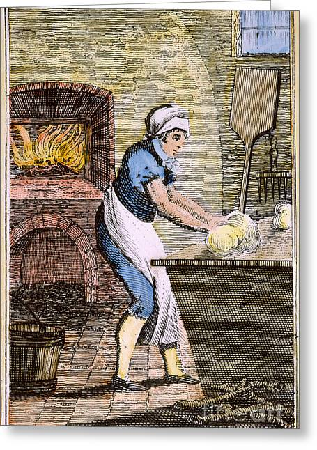 Colonial Man Greeting Cards - COLONIAL BAKER, 18th C Greeting Card by Granger