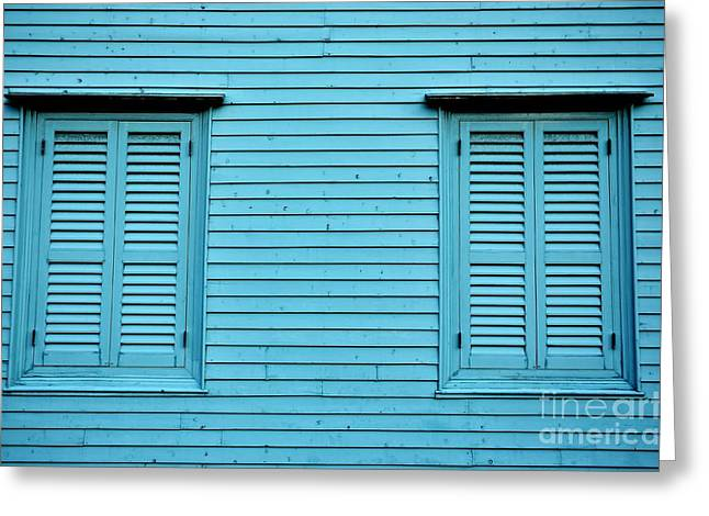 Blue Shutters Greeting Cards - Colonial Blue Greeting Card by Dean Harte