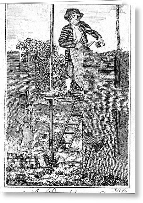18th Century Greeting Cards - Colonial Bricklayer Greeting Card by Granger