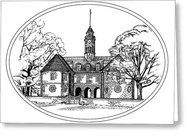 Capitol Drawings Greeting Cards - Colonial Capitol Greeting Card by Paul Abrahamsen