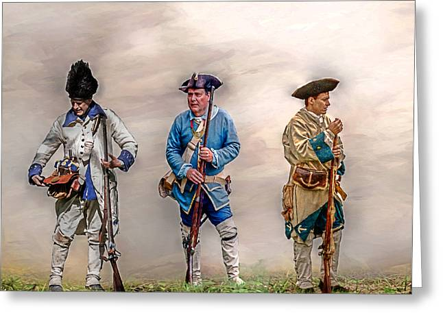 French And Indian War Greeting Cards - Colonial French Soldier Review Greeting Card by Randy Steele