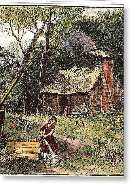 Log Cabins Greeting Cards - Colonial Homestead, 18th C Greeting Card by Granger
