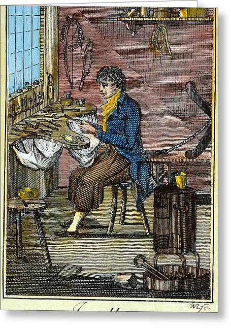 Colonial Man Greeting Cards - COLONIAL JEWELLER, 18th C Greeting Card by Granger