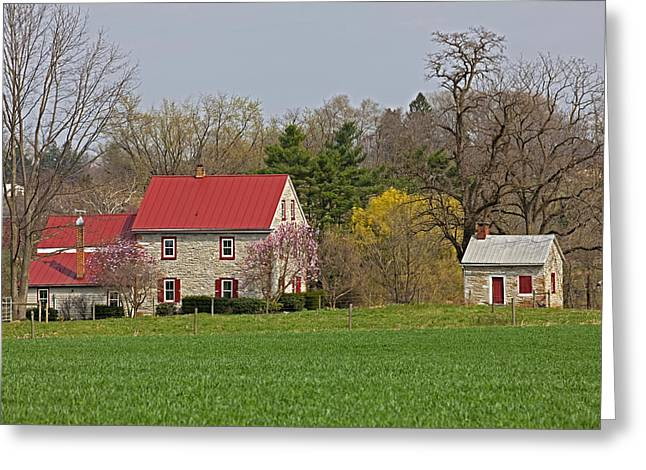 Tin Roof Greeting Cards - Colonial Limestone Farmhouse and Summer Kitchen Spring Greeting Card by John Stephens