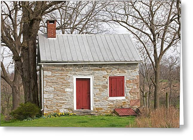 Tin Roof Greeting Cards - Colonial Limestone Summer Kitchen in Spring Greeting Card by John Stephens