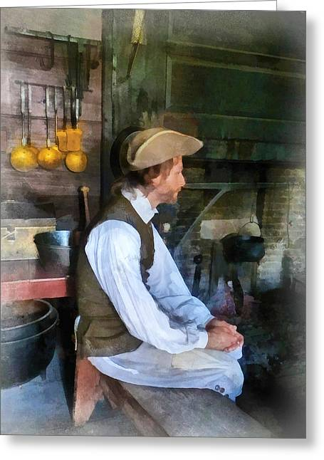 Colonial Man In Kitchen Greeting Card by Susan Savad