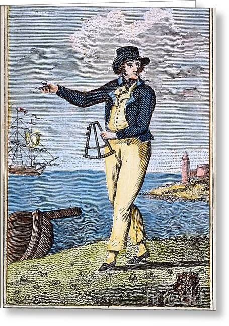 Colonial Man Greeting Cards - COLONIAL MARINER, 18th C Greeting Card by Granger