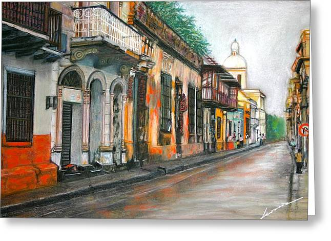 Tourists Pastels Greeting Cards - Colonial place - Sta Marta Colombia Greeting Card by Leonor Thornton
