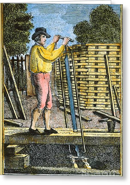 Colonial Man Greeting Cards - COLONIAL SAWYER, 18th C Greeting Card by Granger