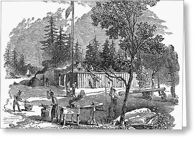 Engraving Greeting Cards - COLONIAL SETTLEMENT, c1700 Greeting Card by Granger