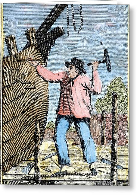 Colonial Man Greeting Cards - Colonial Shipwright Greeting Card by Granger