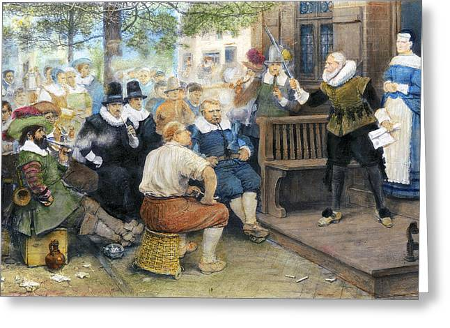 Protesters Drawings Greeting Cards - Colonial Smoking Protest Greeting Card by Granger