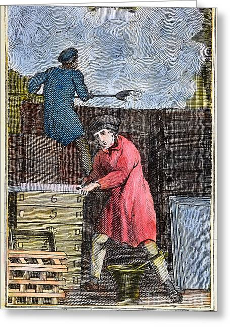 Colonial Man Greeting Cards - COLONIAL SOAPMAKER, 18th C Greeting Card by Granger